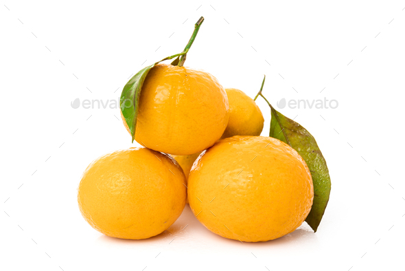 mandarins with leaf isolated on white background - Stock Photo - Images