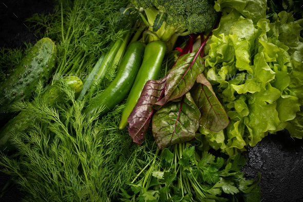 Assorted raw vegetables  background. Healthy clean eating, dieting concept - Stock Photo - Images
