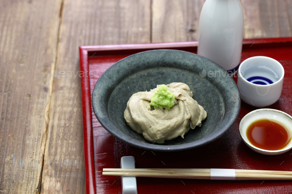 sobagaki  is  a  japanese dish of boiled fresh buckwheat flour, like a polenta. - Stock Photo - Images