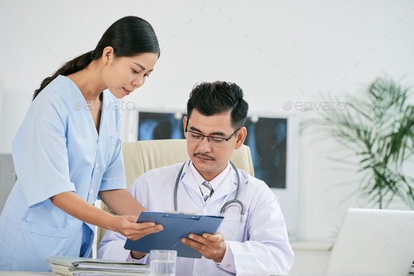 Showing medical history - Stock Photo - Images