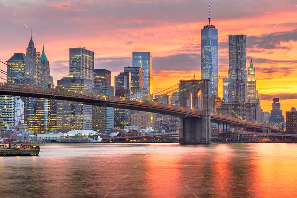 Lower Manhattan Skyline and Brooklyn Bridge - Stock Photo - Images