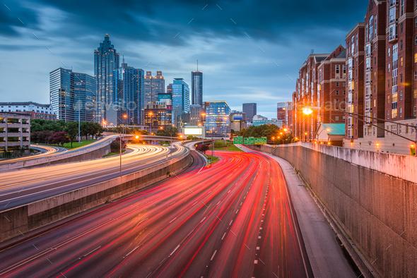 Atlanta, Georgia, USA downtown skyline over the highways at dusk - Stock Photo - Images