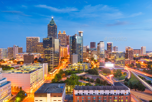 Atlanta, Georgia, USA downtown cityscape from above - Stock Photo - Images