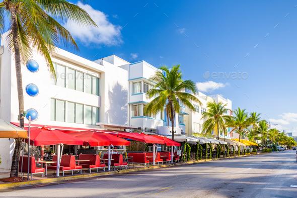 Miami Beach, Florida, USA cityscape on Ocean Drive - Stock Photo - Images