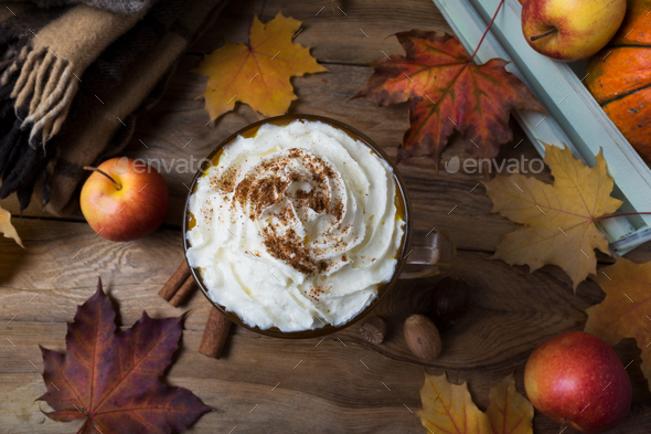 Pumpkin spice latte with cream, wool plaid, top view - Stock Photo - Images
