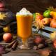 Pumpkin spice coffee latte, cinnamon, nutmeg, fall leaves - PhotoDune Item for Sale
