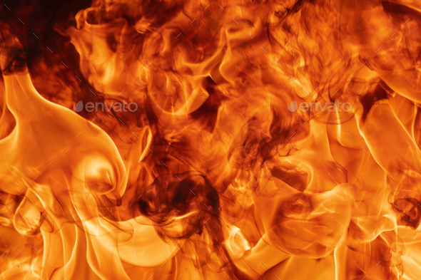 Abstract Red Fire Natural Texture with Blaze. Beautiful Dangerous Firestorm Abstract Background - Stock Photo - Images