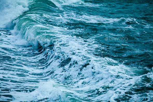 powerful ocean waves breaking natural background - Stock Photo - Images
