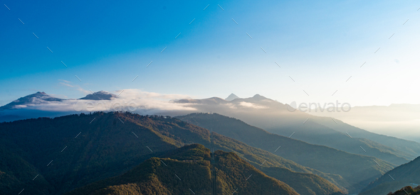 Caucasus mountains. landscape with a blue sky in the mountains. - Stock Photo - Images