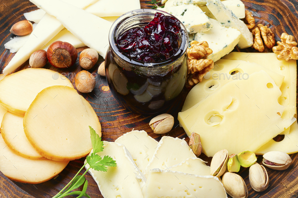 Cheese platter on plate - Stock Photo - Images