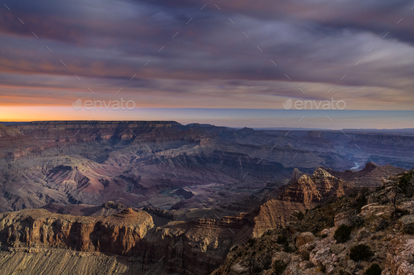 Grand Canyon During moonrise - Stock Photo - Images