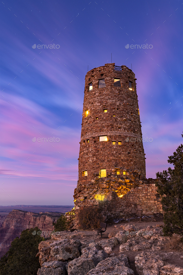 Grand Canyon Desert View Watchtower at Dusk - Stock Photo - Images