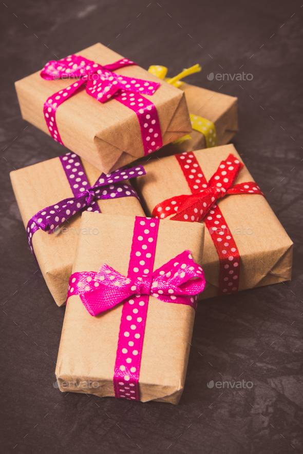 Vintage photo, Heap of wrapped gifts for Christmas, Valentine or birthday - Stock Photo - Images