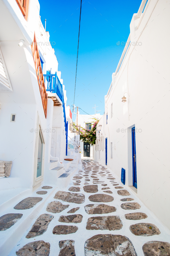 Empty narrow streets of greek old village. Beautiful architecture building exterior with cycladic - Stock Photo - Images