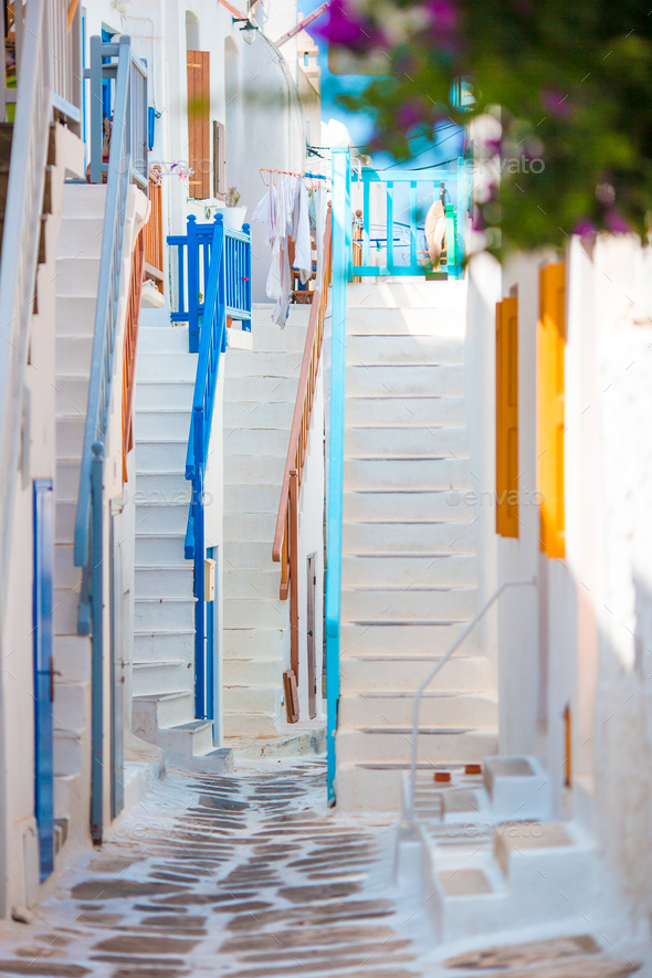 Colorful stairs on old narrow streets of greek island. Beautiful architecture building exterior with - Stock Photo - Images