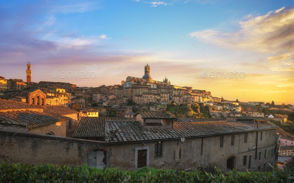Siena sunset panoramic skyline. Mangia tower and cathedral duomo. Tuscany, - Stock Photo - Images