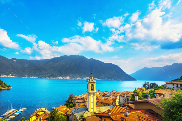 Como Lake, Sala Comacina bell tower from greenway trail. Italy, Europe. - Stock Photo - Images