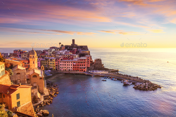 Vernazza village, aerial view on sunset. Cinque Terre, Ligury, Italy - Stock Photo - Images