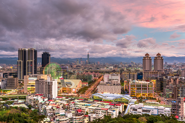 Taipei, Taiwan city skyline in the Xinyi District at twilight. - Stock Photo - Images