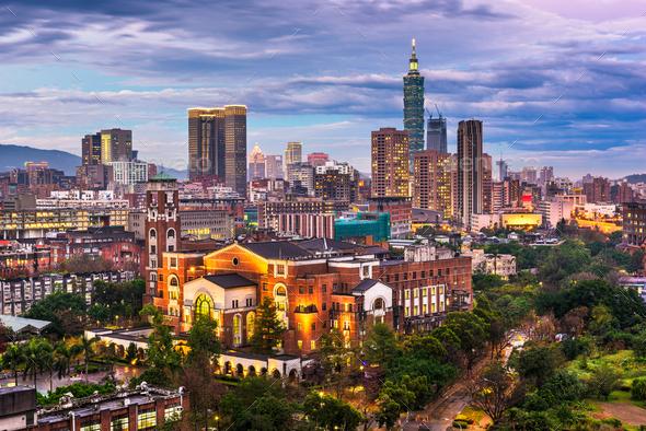 Taipei, Taiwan skyline over National Taiwan University - Stock Photo - Images