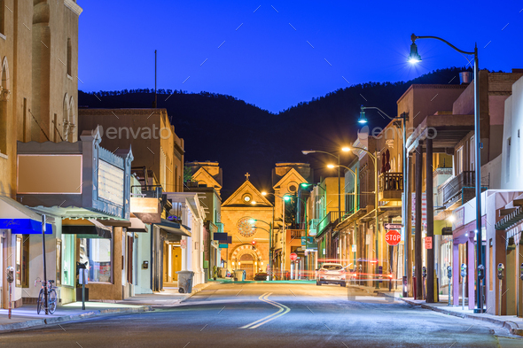 Santa Fe, New Mexico, USA Downtown - Stock Photo - Images