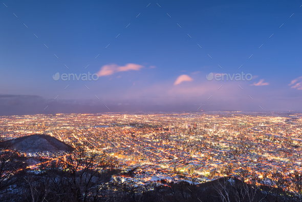 Sapporo, Japan aerial cityscape in winter - Stock Photo - Images