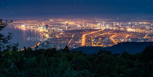 Panoramic view of Da Nang City at night, Vietnam - Stock Photo - Images