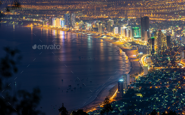Panoramic view of Da Nang City at night, Vietnam - Stock Photo - Images
