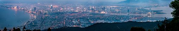 Panoramic view of Da Nang City after sunset, Vietnam - Stock Photo - Images