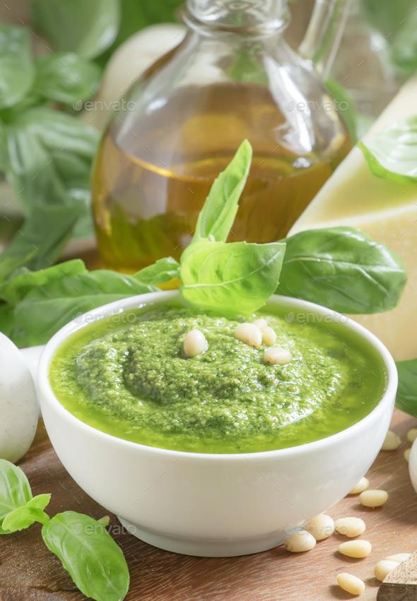 Italian Pesto sauce with green basil - Stock Photo - Images
