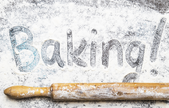 Food or baking background, white flour sprinkled - Stock Photo - Images