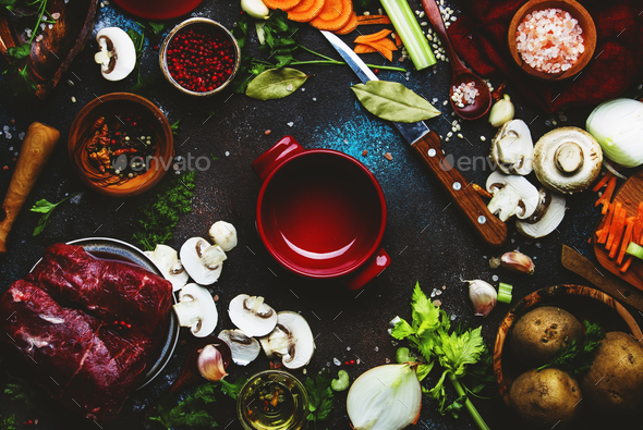 Fresh organic vegetables, ingredients, spices and meat - Stock Photo - Images