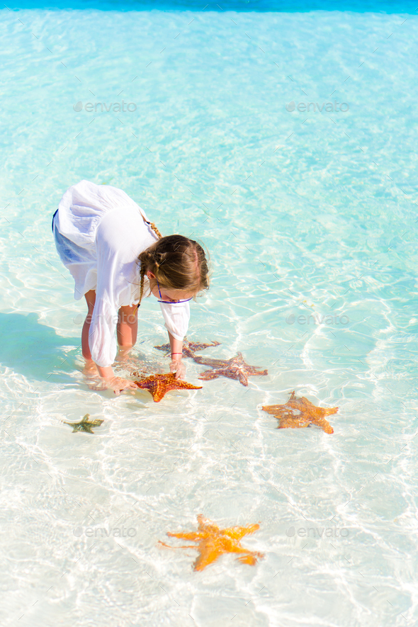 Adorable little girl with starfishes in water at clear water - Stock Photo - Images