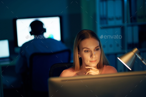 Working late at night - Stock Photo - Images