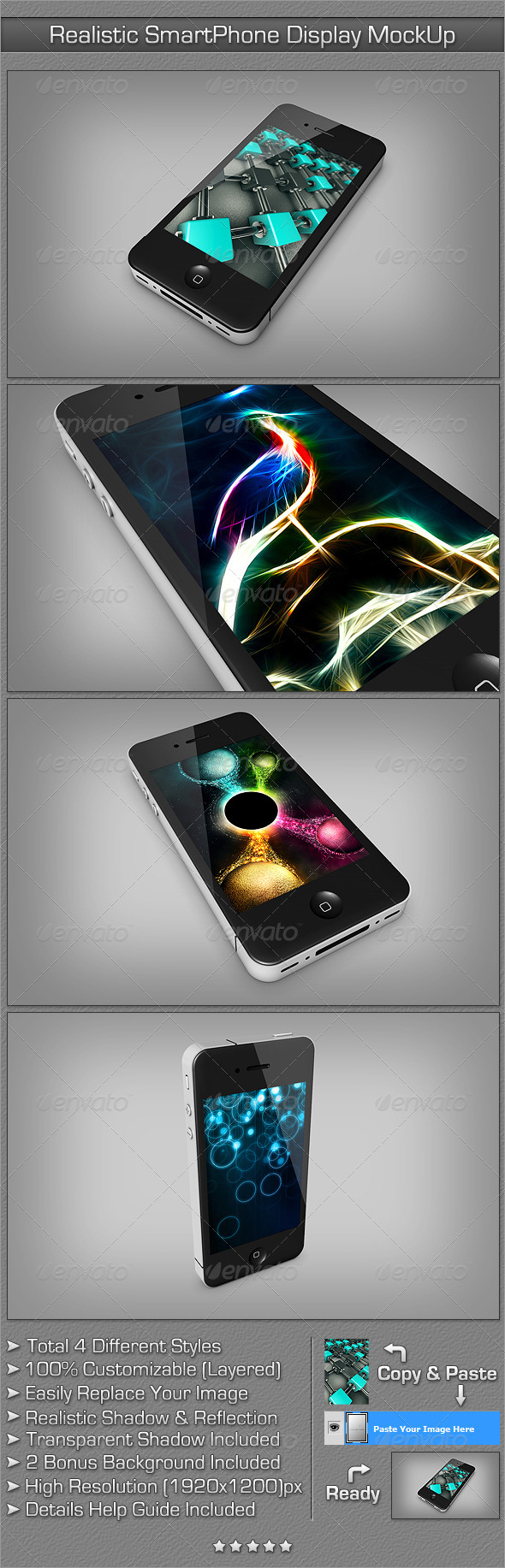 Realistic SmartPhone Display MockUp - Mobile Displays
