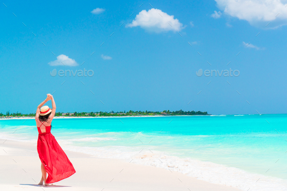 Back view of young girl in beautiful dress background the sea - Stock Photo - Images