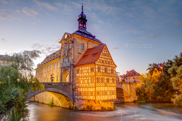 Illuminated historic town hall of Bamberg - Stock Photo - Images