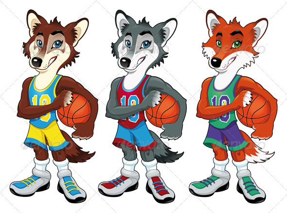 Basketball mascots.  - Sports/Activity Conceptual
