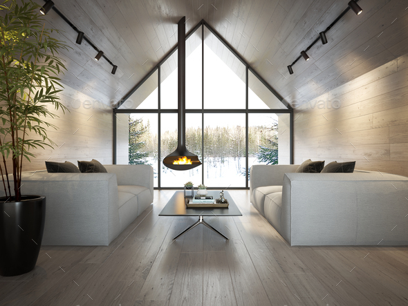 Interior living room of a forest house 3D rendering - Stock Photo - Images