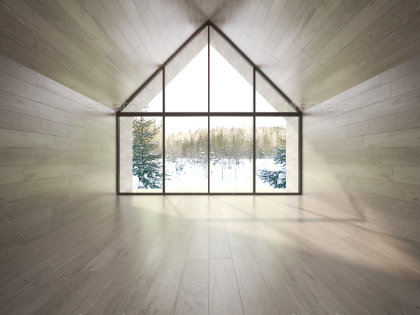 Empty room of a forest house 3D rendering - Stock Photo - Images