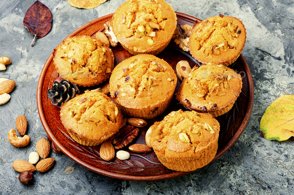 Homemade muffins with nuts - Stock Photo - Images