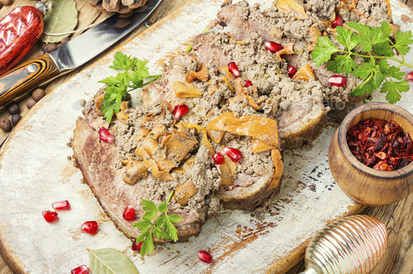 Meat festive roll. - Stock Photo - Images
