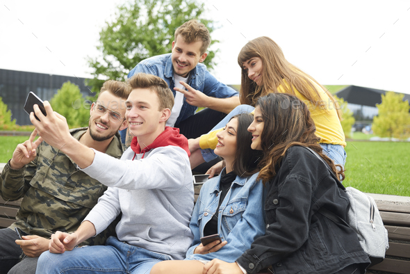 Group of friends making a selfie - Stock Photo - Images