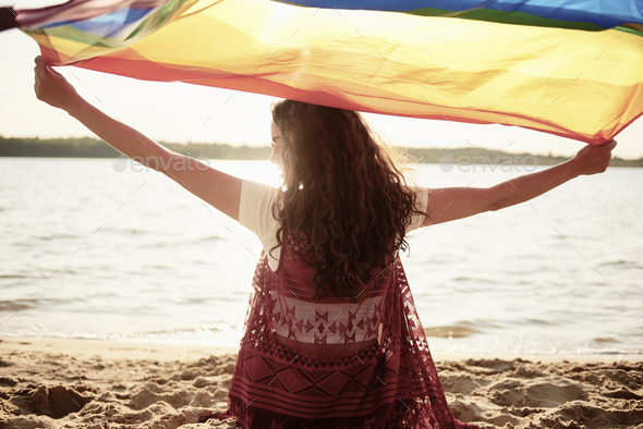Rear view of woman with rainbow flag on the beach - Stock Photo - Images