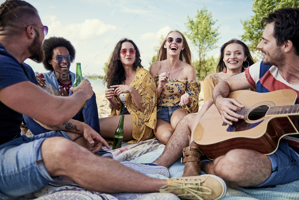 Best friends during beach party - Stock Photo - Images