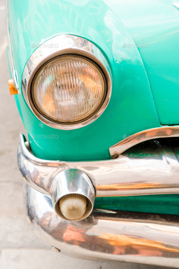 Closeup of classic vintage car in Old Havana, Cuba - Stock Photo - Images