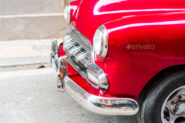Closeup of red classic vintage car in Old Havana, Cuba - Stock Photo - Images