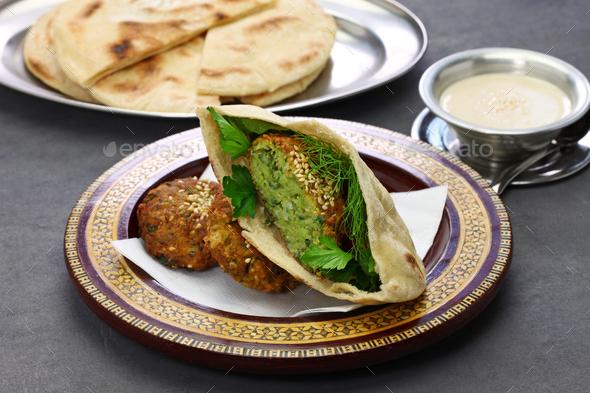 egyptian food (taameya, aish, tahini) - Stock Photo - Images