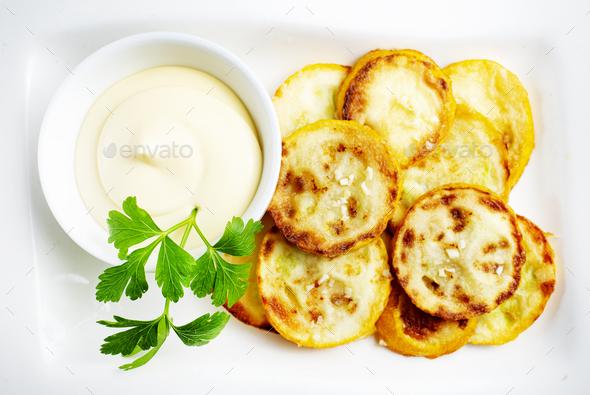 fried yellow zucchini - Stock Photo - Images