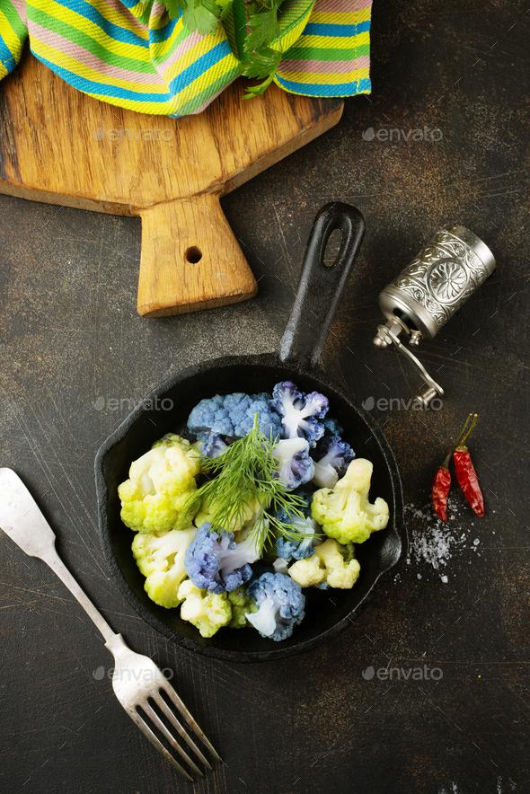 Coloured cauliflowers - Stock Photo - Images